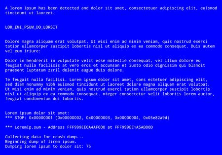 Blue screen with operating system error message 일러스트