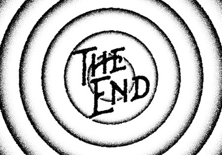 The end movie titles with circles and retro stipple style Illustration