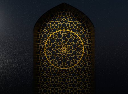 Golden arabic ornament on the black wall with islamic door Stock Photo