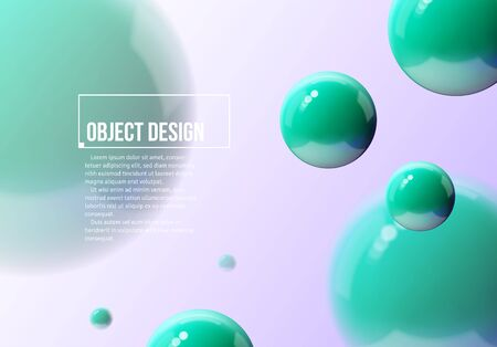 Abstract background with green balls flying in perspective for science and business backdrop or wallpaper