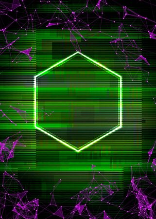 Glitch cyberpunk frame with technology error and neon shape Stock Illustratie