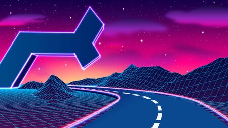 Space road landscape with futuristic neon ruins