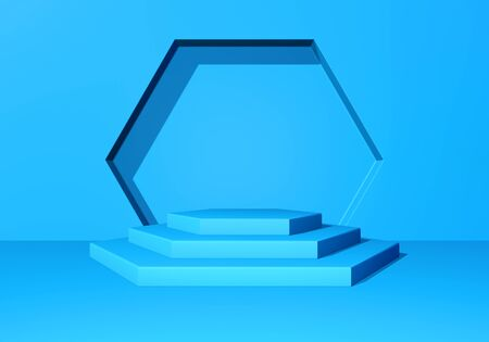 Pedestal or podium with steps and wall arch in the blue abstract background Reklamní fotografie