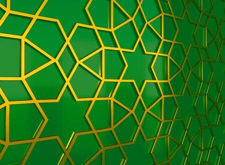 Golden arabic ornament on the green wall. 3D illustration
