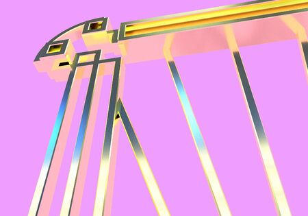 Art deco or modern abstract golden gate element close up with vintage 1920 style. 3D illustration Stock Photo