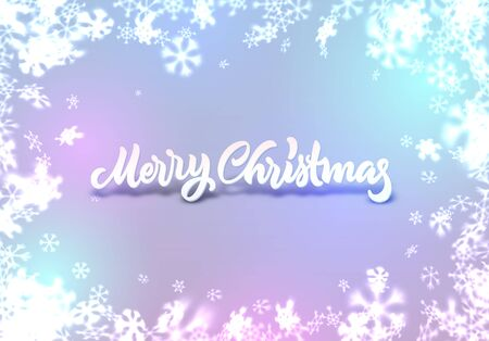 Christmas snowflakes background with falling snow and lettering or calligraphic greeting text Ilustração