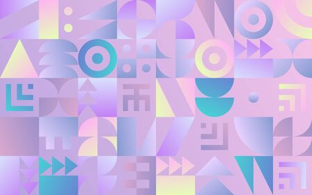 Geometric pattern with retro styled vaporwave shapes