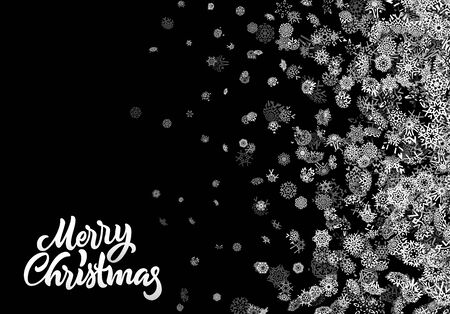 Christmas snowflake abstract background with falling scattered snow for winter New Years Eve holidays celebration Çizim
