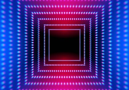 Abstract neon square with grid of glowing lights