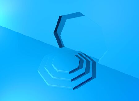 Pedestal or podium with steps and wall arch in the blue abstract background. 3D illustration