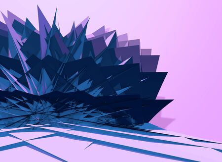 Abstract 3D background with polygons structure, chaotic and sharp. 3D illustration