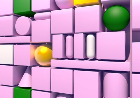 Abstract background with wall of multiple 3d shapes. 3D illustration Zdjęcie Seryjne