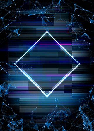 Glitch cyberpunk frame with technology error and neon shape Ilustração