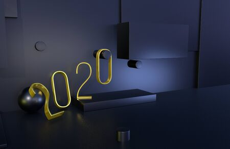 2020 year golden sign with black background. 3D illustration Фото со стока