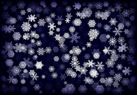 Christmas background or card with hand drawn snowflakes falling for invitation or xmas holiday greetings Ilustrace