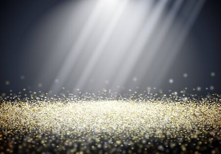 Abstract shiny golden glitter background with sun or light rays  イラスト・ベクター素材