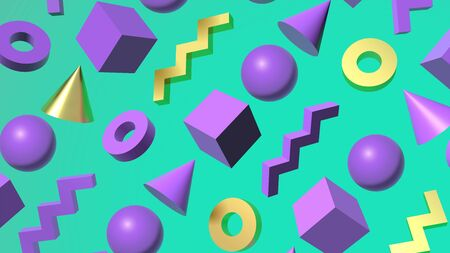 Abstract background with golden and purple 3D shapes flying over aqua menthe green backdrop. Ball, cube, zigzag, cone and donut figures illustration