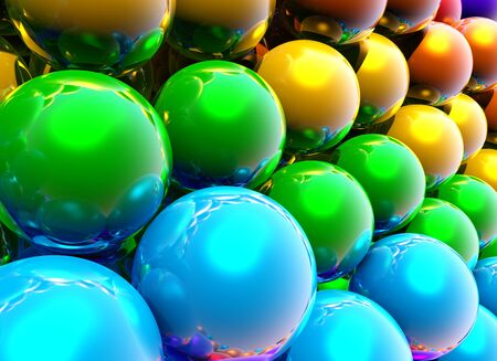 Abstract rainbow balls background or wallpaper with group of shiny colorful 3d objects Archivio Fotografico - 135494289