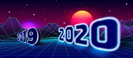 Welcoming 2020 neon sign and farewell 2019 for 80s styled retro New Years Eve celebration with arcade game grid landscape and purple sun