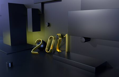 2021 year golden sign with black background. 3D illustration