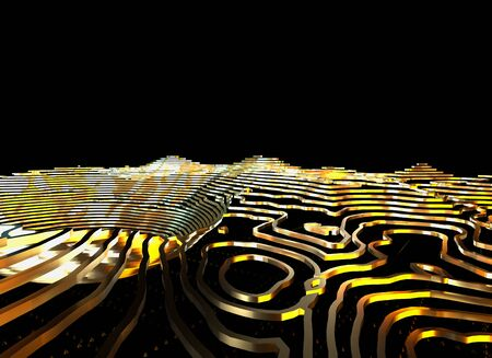 Abstract topographic map 3D background with shiny golden lines in sci-fi technology style. 3D illustration