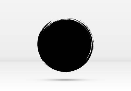 Abstract brushed black ink circle with rough edges and grungy texture Ilustração