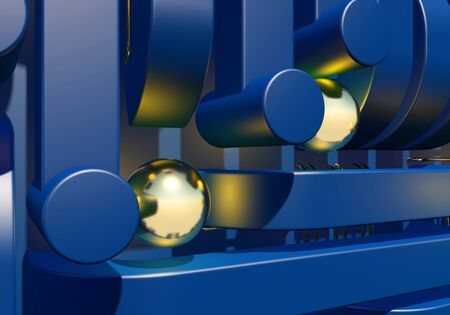 Blue industrial or technology abstraction with shiny golden balls and connection pipes. 3D illustration