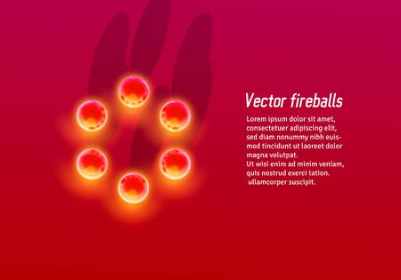 Abstract red background with hot metallic fire balls circle in unusual perspective or from top view Illustration
