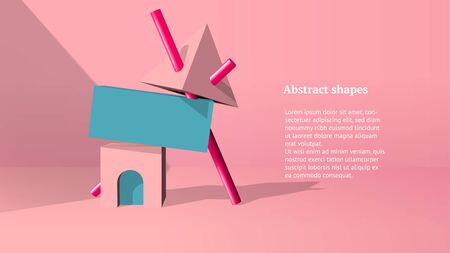 Abstract 3D objects or elements installation balancing in the pink room for a booklet of banner