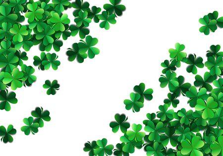 Saint Patricks day background with sprayed green clover leaves or shamrocks Illustration