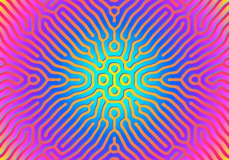 Abstract background with optical illusion generative pattern and vibrant fluid, shiny psychedelic colors  イラスト・ベクター素材
