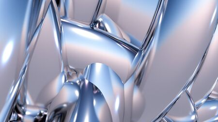 Abstract background with heap or hank of metallic chrome pipes. 3D illustration
