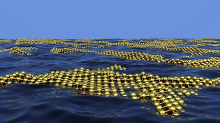 Ecological science abstract background with absorbent grid on the sea or ocean surface to clean the pollution. 3D illustration