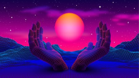 Neon colored 80s or 90s styled landscape with 3D hands holding the glowing purple sun Vecteurs