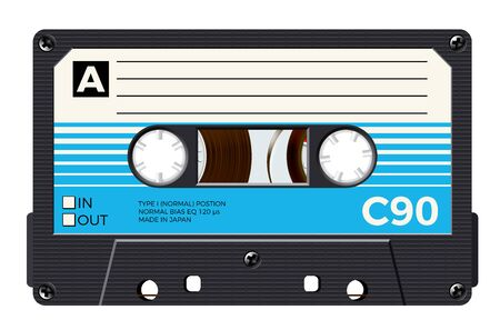 Cassette with retro label as vintage object for 80s revival mix tape design Ilustração