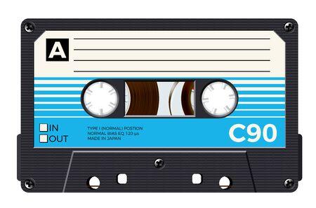 Cassette with retro label as vintage object for 80s revival mix tape design Ilustração