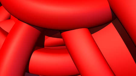 Abstract background with heap or hank of plastic rubber pipes or bands. 3D illustration 版權商用圖片