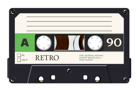Cassette with retro label as vintage object for 80s revival mix tape design, party poster or cover. Realistic vector sign or icon Векторная Иллюстрация