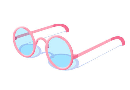 Pink fashion stylish glasses with blue tinted glass