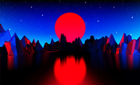 Retro 80s styled futuristic landscape with red neon sun over the horizon and polygonal shiny grid for party poster, flyer or dj mix cover