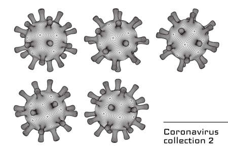 Set of 3d vector coronavirus signs or icons for second wave pandemic illustrations and health care medical booklets