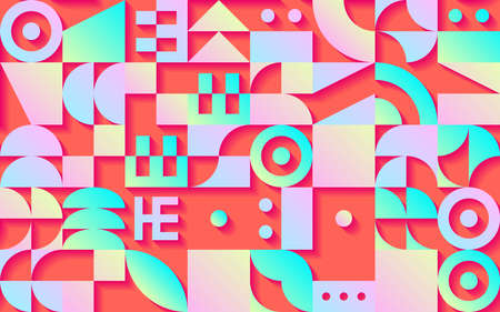 Geometric retro seamless pattern with 30s styled shapes and vibrant psychedelic colors 矢量图像
