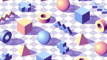 Abstract background with isometric 3D shapes on checkered floor. Minimalistic vaporwave styled pale blue and pink colors and shapes pattern for wallpaper or presentation
