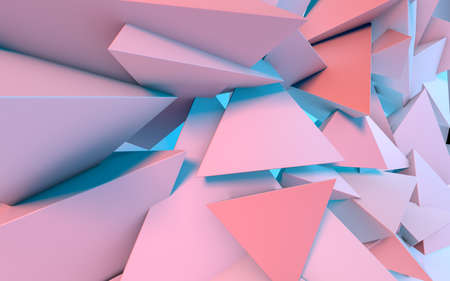 Abstract background with 3D shapes flying in pink and blue light as a messy array or chaotic structure for any pastel backdrop 免版税图像
