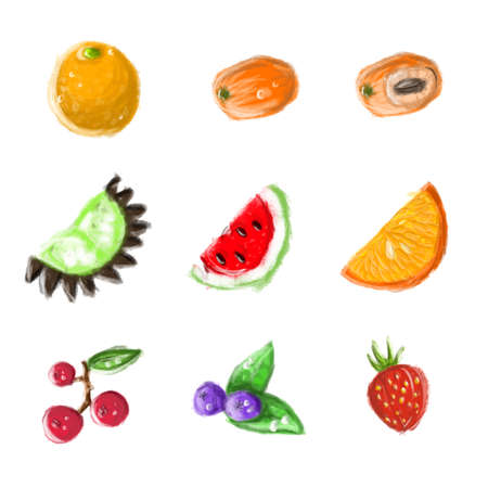 Set of fruits and berries. Hand drawn icons of juicy food with vitamins. Watermelon, orange, strawberry ans raspberry
