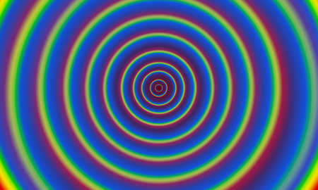 Abstract background with rainbow colored concentric circles. Optical refraction, wave ripple, tunnel movement artistic interpretation