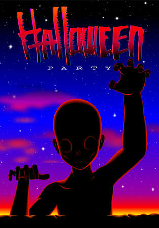 Halloween party poster in 80s horror movies style with crawling zombie or alien creature and neon sunset.