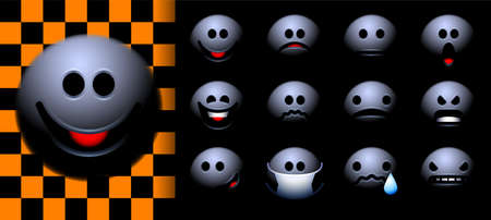 Set of Halloween themed emoji or smileys with ghost in the darkness. All basic emotions - joy, fear, happiness, sadness 矢量图像