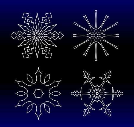 Set of beautiful filigree drawn snowflake silhouettes for Xmas celebration. Sign or emblem of the snow for Christmas holidays. 矢量图像