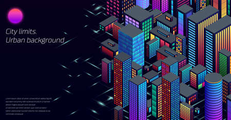 Background with city view with isometric perspective and vibrant neon colors